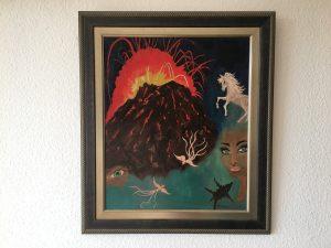 100. Vulkan Surrealistisch 1976 50x60 Öl