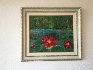 24. Rote Seerosen 1999 55x46 Öl