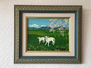 87. Schafe 2001 23x18 Acryl